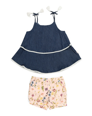 Little Girls Tie Sleeve Floral Short Set