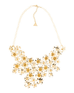 14k Gold Plated Cz Flower Necklace