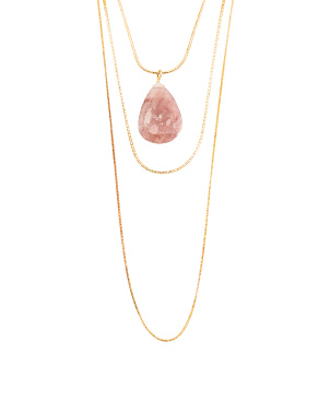 Rose Quartz Multilayer Chain Necklace