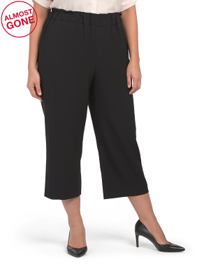 Plus Pull On Soft Wide Leg Cropped Pants