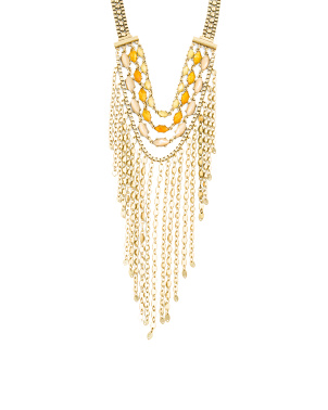 Gold Tone Citrine Bead Fringe Necklace