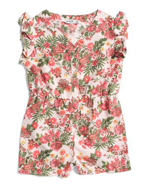 Little Girls Floral Challis Romper