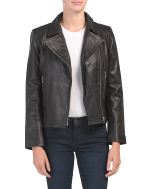 Juniors Washed Leather Jacket