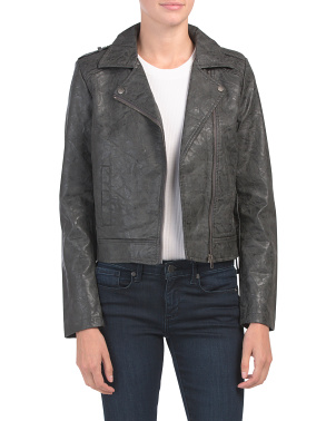 Juniors Distressed Faux Leather Jacket