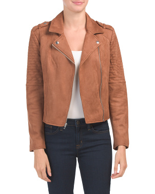 Juniors Faux Suede Moto Jacket