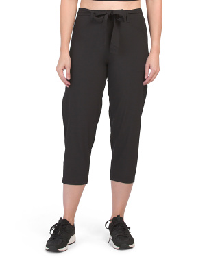 Tie Front Stretch Woven Capris