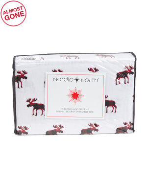 Moose Buffalo Flannel Sheet Set
