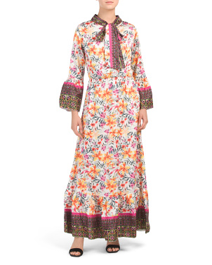 Made In Italy Printed Floral Maxi Dress