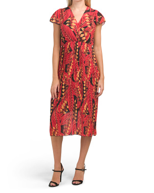 Made In Italy V-neck Printed Midi Dress