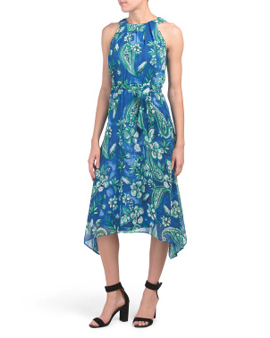 Petite Sleeveless Floral Chiffon Dress