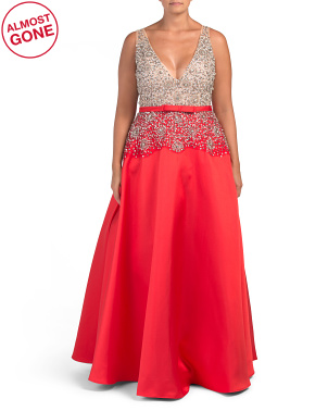 Plus V-neck Embellished Gown