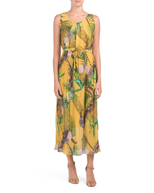 Pleated Tropical Medallion Print Dress