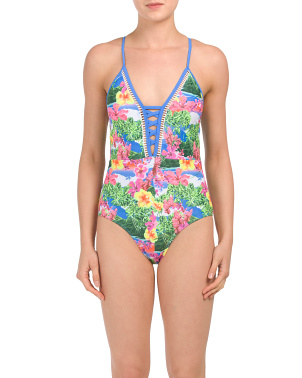 Tropical Lace Up Mio One-piece Swimsuit