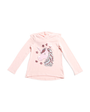 Big Girls Unicorn Brushed Fleece Hoodie