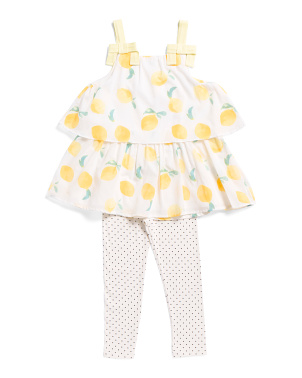 Little Girls 2pc Lemon Legging Set