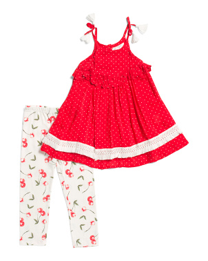 Little Girls 2pc Cherry Leggings Set