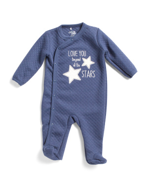 Baby Boys Stars Quilted Footie