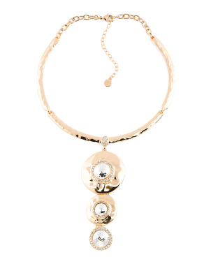 Gold Tone Hammered Multi Disc Pendant Necklace