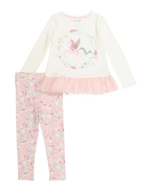 Girls 2pc Unicorn Mesh Hem Legging Set