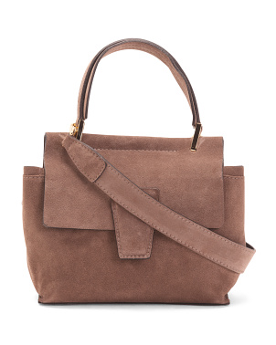Made In Italy Flap Over Suede Satchel