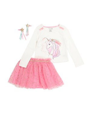 Girls 2pc Unicorn Tutu Skirt Set With Hair Clips