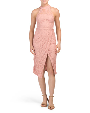 Juniors Australian Designed High Neck Lace Dress