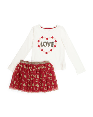 Girls 2pc Love Tutu Skirt Set