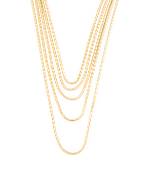Made In Italy 14k Gold Plated Bronze 5 Row Necklace
