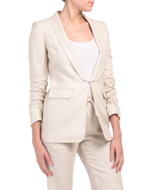 Petite Linen Tailored Suit Jacket