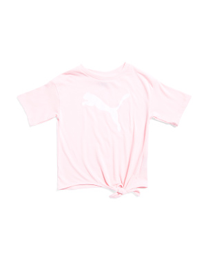 Little Girls Logo Tie Front Top