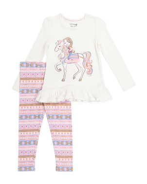 Girls 2pc Unicorn Ruffle Legging Set