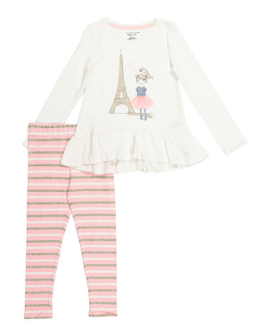 Girls 2pc Parisian Girl Legging Set
