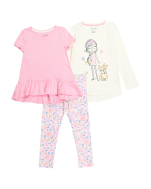 Girls 3pc Girl & Pup Legging Set
