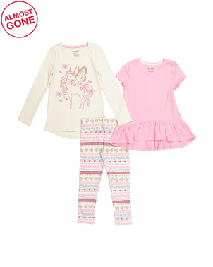 Girls 3pc Unicorn Legging Set