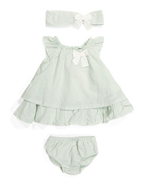 Newborn Girls Swiss Dot Dress & Bloomers