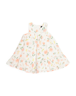 Infant Girls Floral Stripe Dress