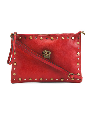 Made In Italy Leather Studded Crossbody With Wristlet