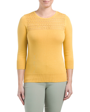 Pointelle Detail Lightweight Sweater