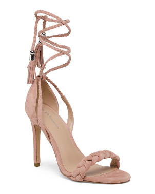 Braided High Heel Suede Sandals