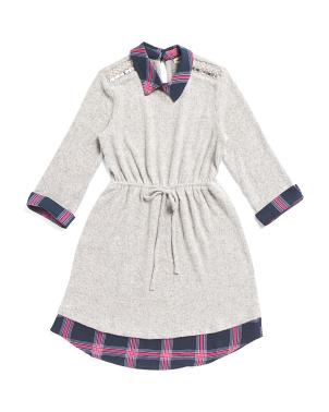 Big Girls Hacci Plaid Dress