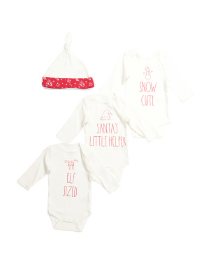 3pk Long Sleeve Bodysuit And Hat Set