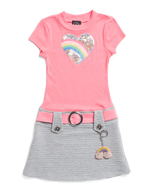 Little Girls Sequin Rainbow Heart Marcia Dress