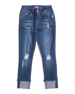 Big Girls Cuffed Two-way Destructed Skinny Jeans