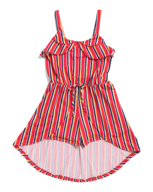 Big Girls Striped Walk Thru Romper