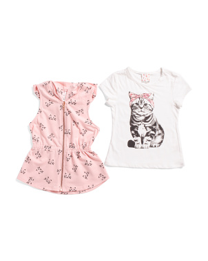 Big Girls Kitty Vest Set