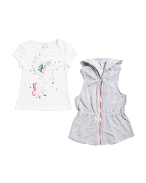 Big Girls Unicorn Vest Set