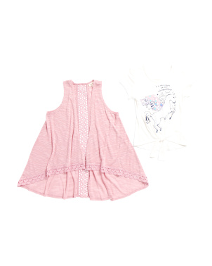 Big Girls Tie Front Top With  Vest