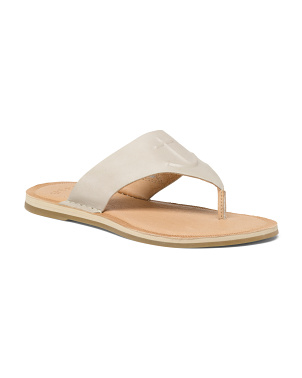 Memory Foam Leather Thong Sandals