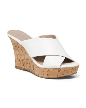 Cross Band Cork Wedges