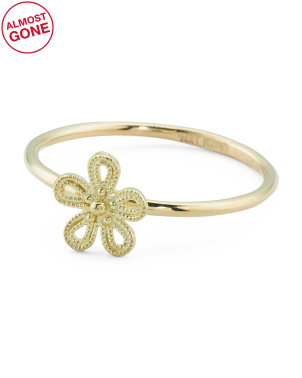 Made In Italy 14k Gold Flower Ring